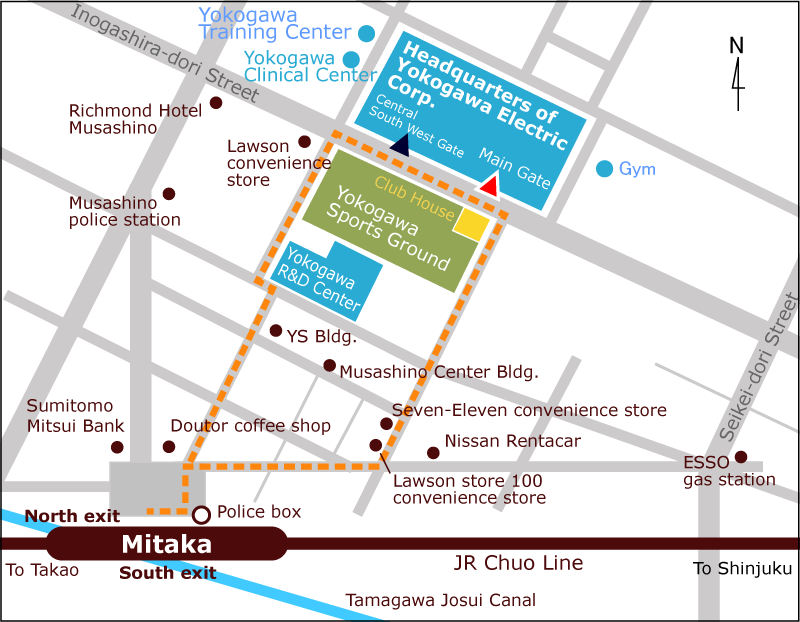 From Mitaka Station to Yokogawa Headquarters