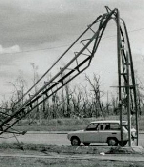 Image 1: Twisted power pole after 1974 cyclone, Territory Generation