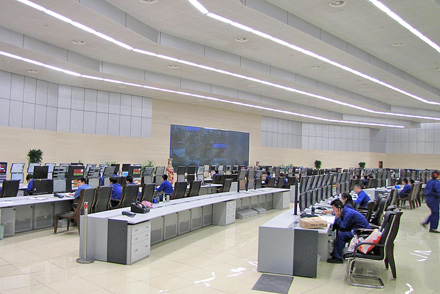 The central control room for petrochemical plants