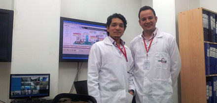 From the left: David Espeleta (Production Assistant) and Fabian Cote (Engineering Director)