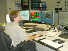 Steve Sadecki in the Cogen Plant control room