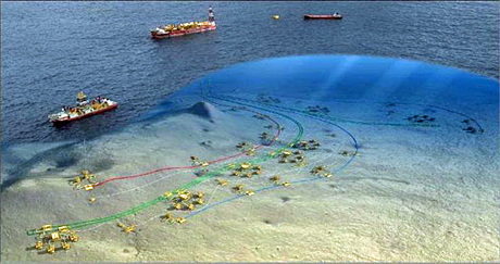 The Usan subsea production system linked to the FPSO topside