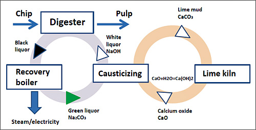Kraft pulp recovery cycle