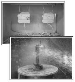 Figure 5 Dust-proof test (above) and waterproof test (below)