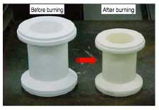 Figure 9 Ceramic Shrinkage due to Burning