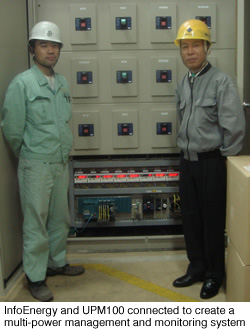 InfoEnergy and UPM100 connected to create a multi-power management and monitoring system
