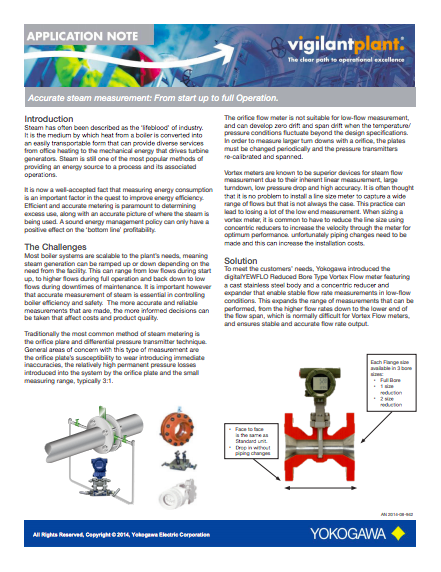 steam flow measurement application note