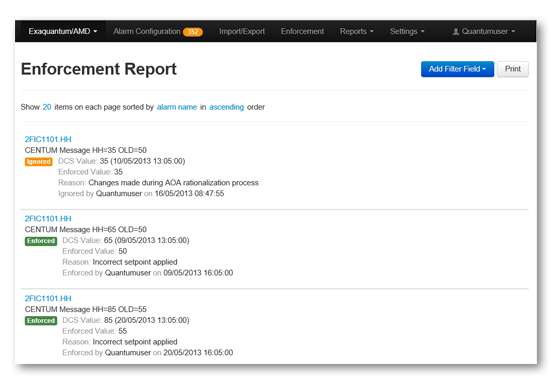 Exaquantum/AMD Enforcement Report Page