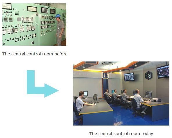 The central control room before / The central control room today
