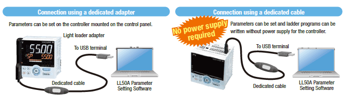 Simple parameter setting and transition using an LL50A
