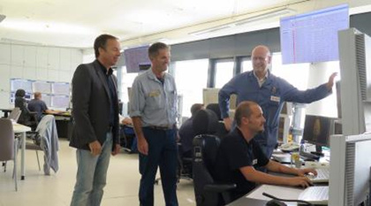 From left to right:Dirk Boon, Account Manager Yokogawa Belgium./Frank Rossen, Service Engineer EMR Workshop OXENO Antwerp/Dany Vonck, Senior Project Engineer–OXENO Antwerp