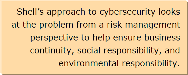 Shell's approach to cybersecurity looks at the problem from a risk management perspective to help ensure business continuity, social responsibility, and environmental responsibility.