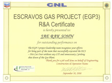 Recognition & Achievement Certificate from CNL